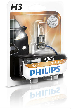 PHILIPS Żarówka samochodowa H3 12V 55W PK22s Vision +30%
