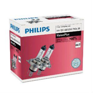 PHILIPS Żarówka samochodowa H-4 12V 60/55W P43t-38 VisionPlus +60% - 2sztuki