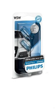 PHILIPS Żarówka samochodowa W5W White Vision12V 5W W2,1x9,5d