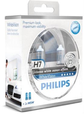 PHILIPS Zestaw Żarówek samochodowych White Vision H7 12V 55W Px26D + W5W 5W W2,1x9,5d